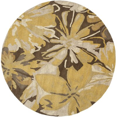 Millwood Gold/Chocolate Floral Area Rug Rug Size: Square 6