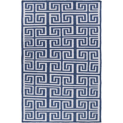 Larksville Hand-Woven Navy/White Indoor/Outdoor Area Rug Rug Size: Runner 26 x 8