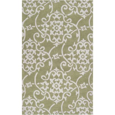 Windsor Hand-Tufted Green/Light Gray Area Rug Rug size: Runner 26 x 8