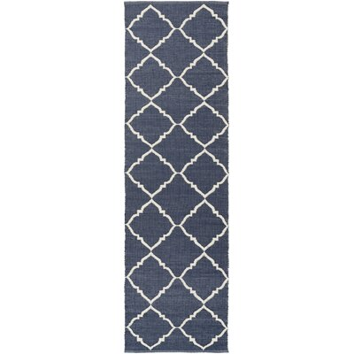 Eastbrook Hand-Woven Cream/Navy Outdoor Area Rug Rug size: 33 x 53