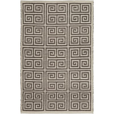 Eastbrook Hand-Woven Dark Brown/Cream Outdoor Area Rug Rug size: Rectangle 33 x 53