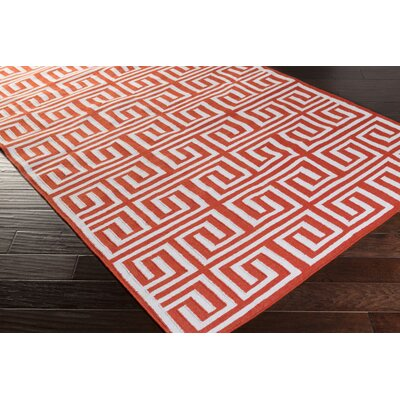 Larksville Hand-Woven Bright Orange/Cream Indoor/Outdoor Area Rug Rug size: 8 x 11