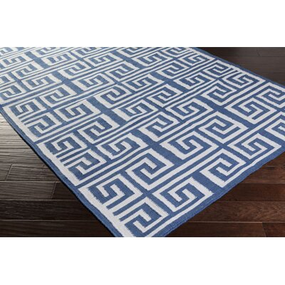 Larksville Hand-Woven Navy/White Indoor/Outdoor Area Rug Rug size: 36 x 56