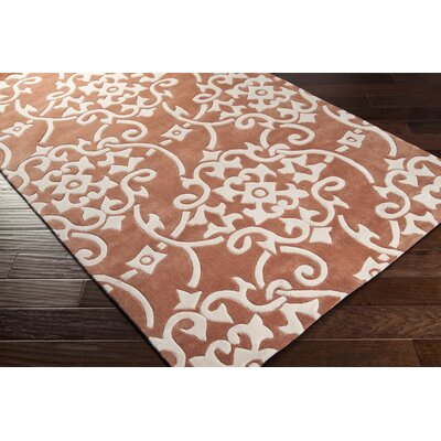 Windsor Hand-Tufted Burnt Orange/Khaki Area Rug Rug size: 4 x 6