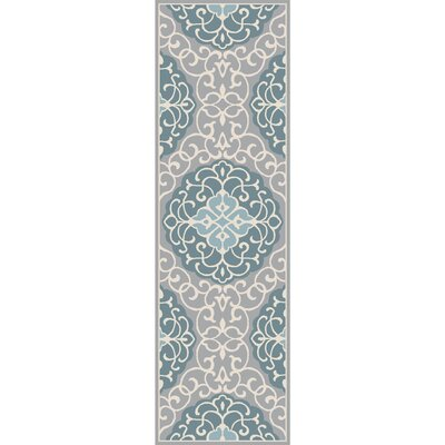 Windsor Hand-Tufted Aqua/Light Gray Area Rug Rug size: Rectangle 36 x 56