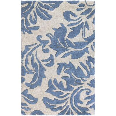 Millwood Hand-Tufted Cream/Denim Area Rug Rug size: Round 4