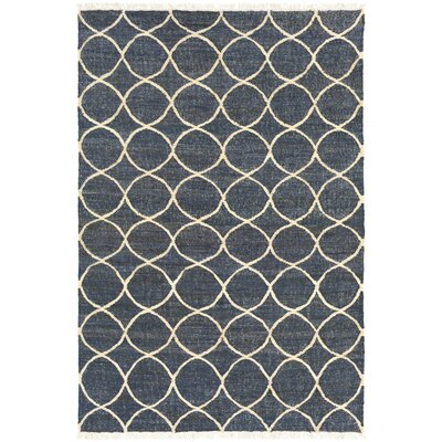 Ashley Hand-Woven Neutral/Blue Area Rug Rug Size: Rectangle 8 x 10