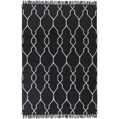 Larksville Hand-Woven Black Outdoor Area Rug Rug Size: 8 x 11