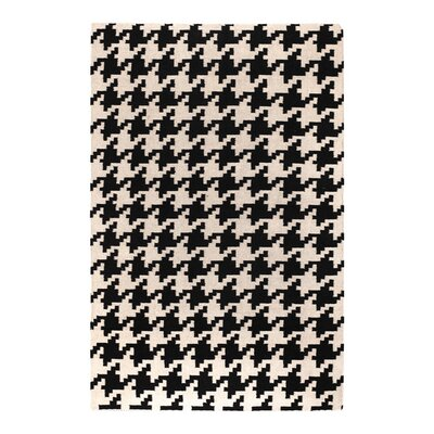 Atkins Houndstooth Hand-Woven Wool Black/ivory Area Rug Rug Size: Rectangle 36 x 56