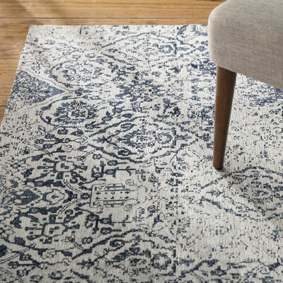 Kleinschmidt Ivory/Navy Area Rug Rug Size: Rectangle 23 x 76