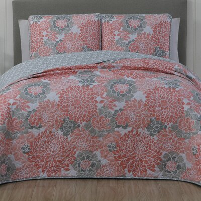 Nettie 3 Piece Quilt Set Size: King, Color: Coral