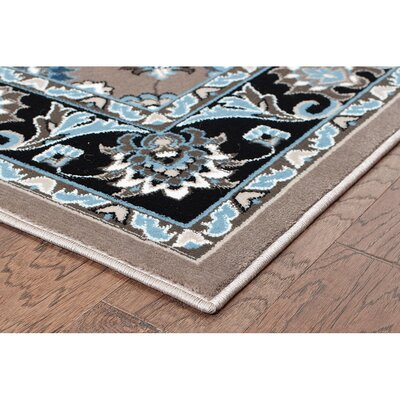 Nelle Gray/Black Area Rug Rug Size: Rectangle 79 x 910