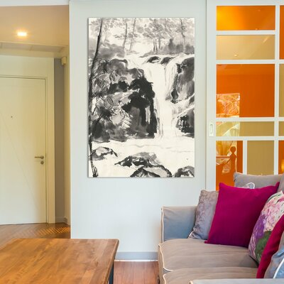 Sumi Waterfall III Painting Print on Wrapped Canvas