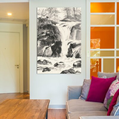 Sumi Waterfall IV Painting Print on Wrapped Canvas