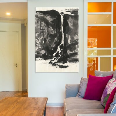 Sumi Waterfall VIew II Painting Print on Wrapped Canvas
