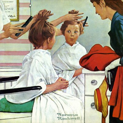 'First Trip to the Beauty Shop' by Norman Rockwell Painting Print on Wrapped Canvas