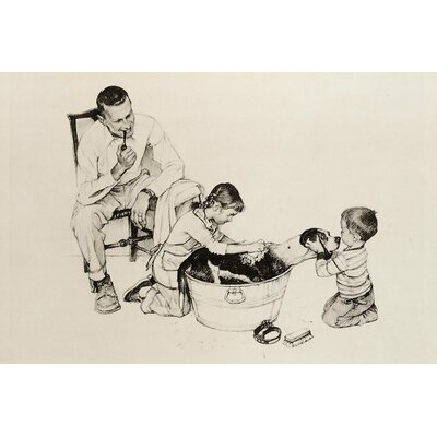 'Dog's Bath' by Norman Rockwell Painting Print on Wrapped Canvas