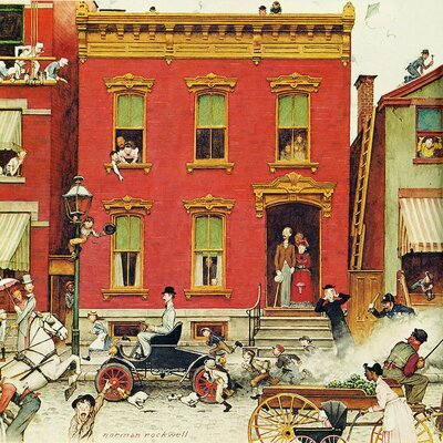 'The Street Was Never the Same Again' by Norman Rockwell Painting Print on Wrapped Canvas
