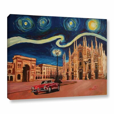Starry Night in Milan Italy Oldtimer and Cathedral Painting Print on Wrapped Canvas