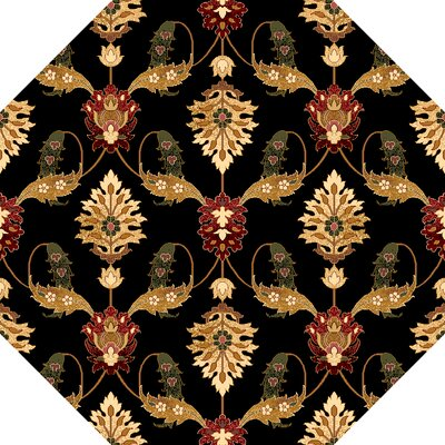 Greenfield Black Area Rug Rug Size: Octagon 77