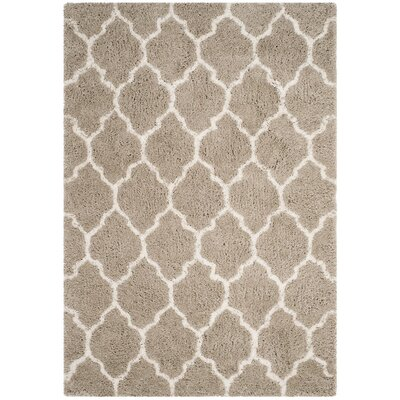 Parnassus Hand-Tufted Silver/Ivory Area Rug Rug Size: Square 5 x 5