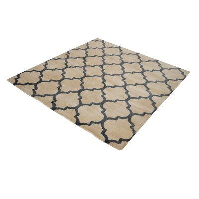 Oreland Hand-Woven Natural/Black Area Rug Rug Size: Square 6