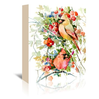 Cardinal Birds Painting Print on Wrapped Canvas
