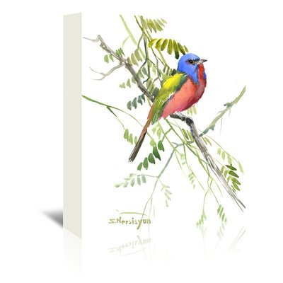 Painted Bunting Painting Print on Wrapped Canvas