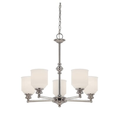 Genevieve 5-Light Shaded Chandelier Finish: English Bronze