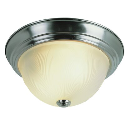 Evangeline 1-Light Flush Mount Finish: Antique White, Size: 6 H x 15 W x 15 D