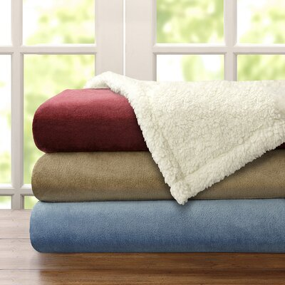 Baskerville Microlight Plush To Berber Throw Size: King, Color: Khaki