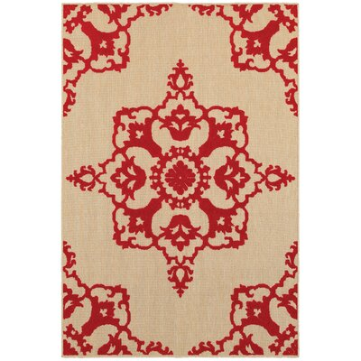 Winchcombe Sand/Red Outdoor Area Rug Rug Size: Rectangle 67 x 96