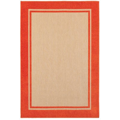 Winchcombe Sand/Orange Outdoor Area Rug Rug Size: Rectangle 53 x 76