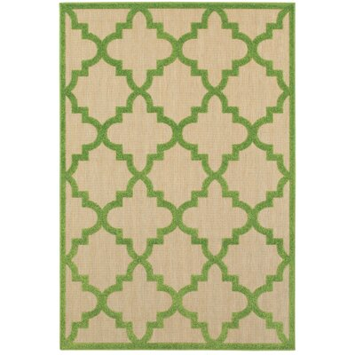 Winchcombe Sand/Green Outdoor Area Rug Rug Size: Rectangle 53 x 76