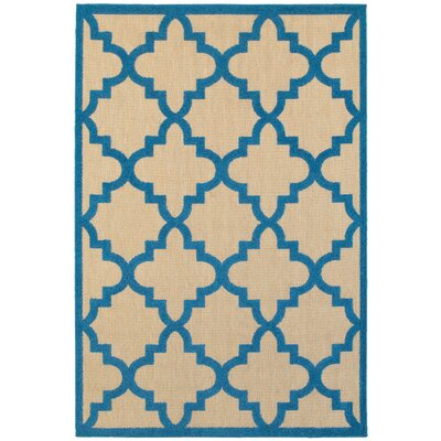 Winchcombe Sand/Blue Outdoor Area Rug Rug Size: Rectangle 53 x 76