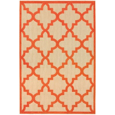 Winchcombe Sand/Orange Outdoor Area Rug Rug Size: 53 x 76