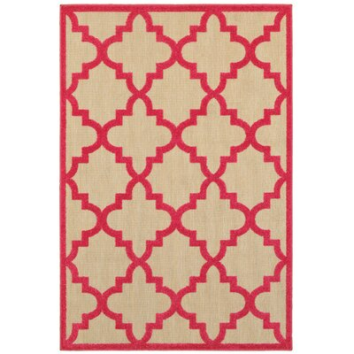 Winchcombe Sand/Pink Outdoor Area Rug Rug Size: Rectangle 53 x 76