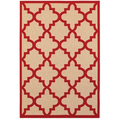 Winchcombe Sand/Cherry Red Outdoor Area Rug Rug Size: Rectangle 910 x 1210
