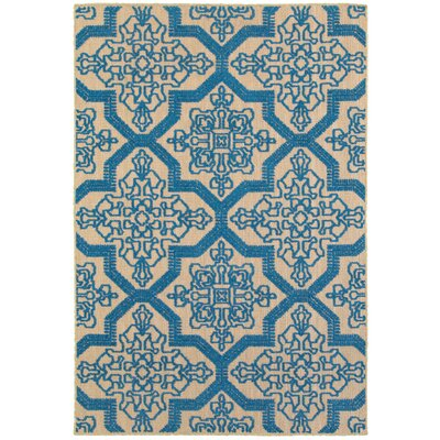 Winchcombe Sand/Blue Outdoor Area Rug Rug Size: Rectangle 67 x 96