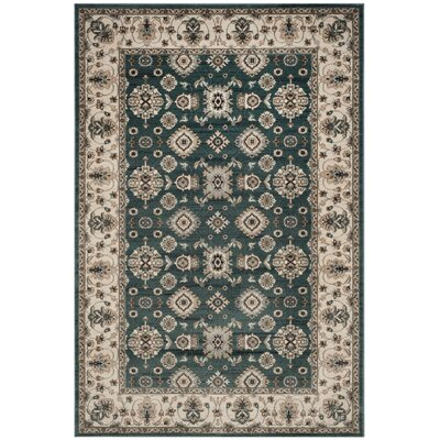 Briarcliff Teal/Cream Area Rug Rug Size: Rectangle 53 x 76