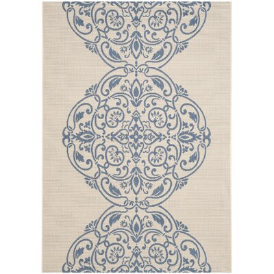 Topiary Signet Blue/Tan Area Rug Rug Size: 53 x 77