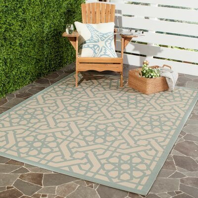 Triumph Sunken Blue/Beige Area Rug Rug Size: Rectangle 4 x 57