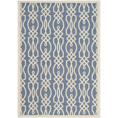 Villa Screen Beige/Blue Area Rug Rug Size: 53 x 77