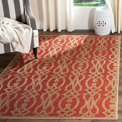 Villa Screen Red/Brown Area Rug Rug Size: 4 x 57