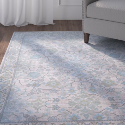 Linton Gray/Blue Area Rug Rug Size: 33 x 43