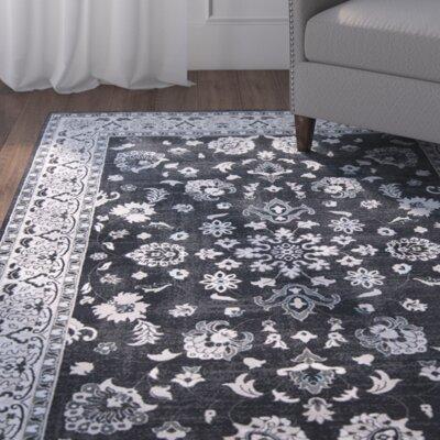 Linton Black/White Area Rug Rug Size: 53 x 72