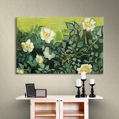 'Wild Roses' by Vincent Van Gogh Painting Print on Canvas