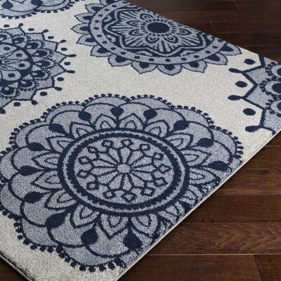 Gravesham Blue/Gray Area Rug Rug Size: Rectangle 53 x 76