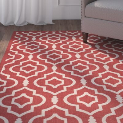 Octavius Red/Bone Outdoor Rug Rug Size: Rectangle 27 x 5