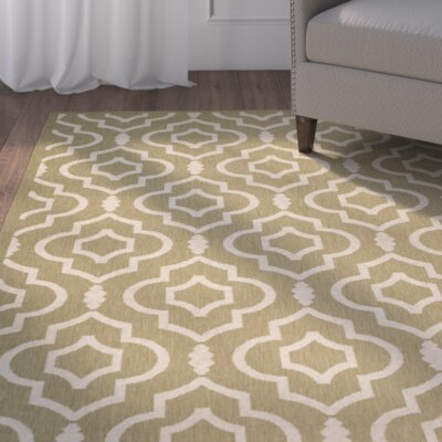 Octavius Green/Beige Indoor/Outdoor Area Rug Rug Size: Rectangle 4 x 57